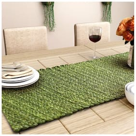 Unravel India Sabai grass olive table runner