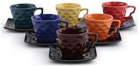 Unravel India Ceramic Diamond Cups And Saucers -Set Of 6