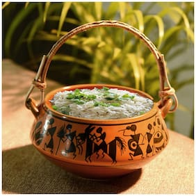 Unravel India ceramic warli design handpainted biryani serving bowl