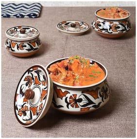 Unravel India ceramic floral Handi set (Set of 3)