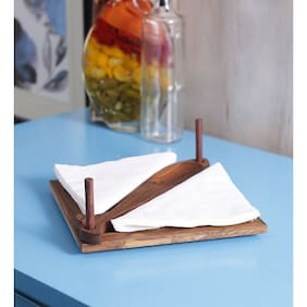 Unravel India Wooden Engraved Brown Tissue And Tooth Pick Holder