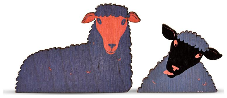 Collarfolk Sheep Dual purpose Quirky decorative wooden Fridge magnets with post it   unique gift   set of 3 , Pink Blue