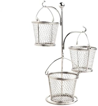 Urban Snackers Mini Serving Tree with 3 Bucket, Silver, Use for Serving Food in Home, Kitchen, Hotel, Wedding & Party Gifting Accessories