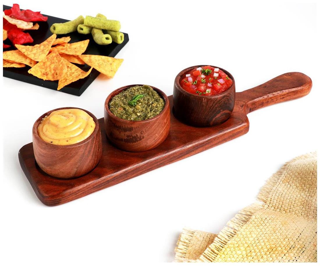 Urban Snackers Wooden Sauce Server with 3 Dips For Serving Vinegar, Salad,...
