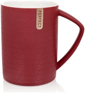Urban Snackers Colored Mug With Lid & Spoon Red Color