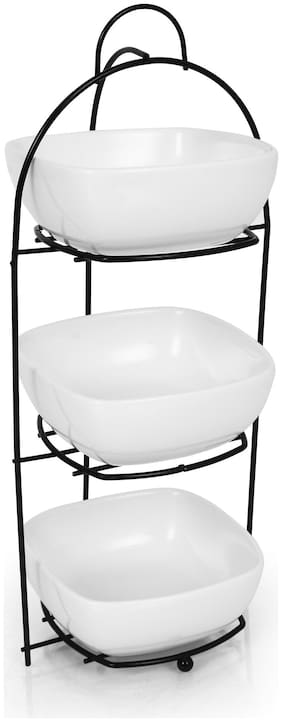 Urban Snacker Bowls with Metal Rack Food Serving Display Stand;Dessert Appetizer Snack