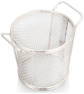 Urban Snackers Stainless Steel Round Tapered Basket For French Fry;Fryer Basket Strainer For Snacks Serving & Food Presentation At Home;Hotel;Restaurant;Kitchen serving Accessories