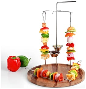 Urban Sanckers Stainless Steel Hanging Kabab Skewer, Set of 4 Skewers, Barbeque and Kabab Stand, Home, Kitchen, Hotel & Restaurants