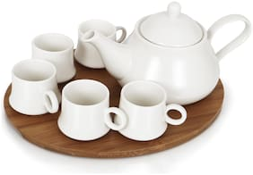 Urban Snackers Porcelain Tea Pot With 5 Cups and Wooden Serving Tray