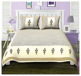 Urbano Homz Cotton Floral King Size Bedsheet 144 TC ( 1 Bedsheet With 2 Pillow Covers , Multi )