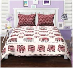 Urbano Homz Cotton Motifs King Size Bedsheet 144 TC ( 1 Bedsheet With 2 Pillow Covers , Multi )