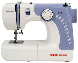 Usha Janome Dream Stitch Automatic Zig-Zag Electric Sewing Machine (White And Blue)