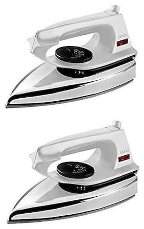 Usha EI 2802 1000-Watt Ultra Lightweight Dry Iron (White) pack of 2