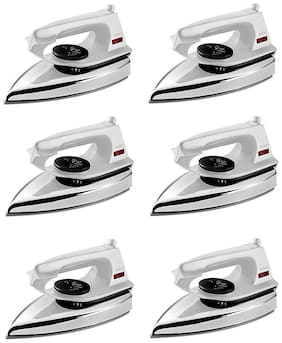 Usha EI 2802 1000-Watt Ultra Lightweight Dry Iron (White) pack of 6