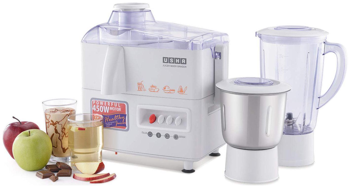 USHA JMG3345 450 W Juicer Mixer Grinder (2 Jars/White)
