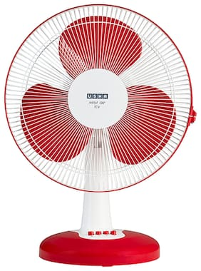 Usha Mist Air Icy 400 mm Standard Table Fan ( Red & White , Pack of 1 )