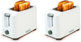 Usha PT3720 2 Slices Pop-Up Toaster - White , Pack of 2