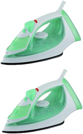 USHA SI 3816 1600-Watt Steam Iron (Green;White) Pack of 2