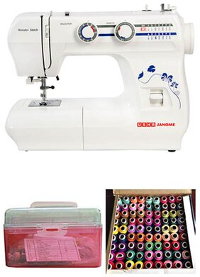Usha Wonder Stitch Sewing Machine With Sewing Kit And Free 100 Rolls Of Coloured Threads Worth Rs 499/-