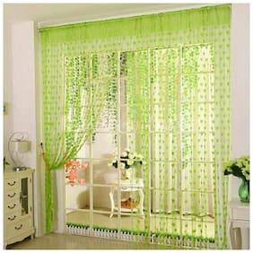 UTKARSH Net & Polyester Window Transparent Green String Curtain ( Rod Pocket Closure , Printed )