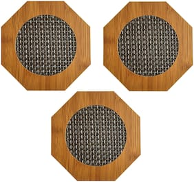 Utkarsh (Set Of 3) Hexagon Shape Heating Insulation/Resistant Natural Bamboo Wooden Coaster Heat Table Ware Pad Placemat For Hot Coffee,Bowl & Tea Cup, Office, Home & Kitchen Dining Pan Pot Holder