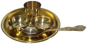 Utkarsh Pure Copper (10.16 cm Diameter) Brass Laddu Gopal Puja Bhog Special For Religious Festive Krishna Janmashtami Set Of 5 Pcs Thali Set ( 1 Dessert Plate/Thali + 2 Bowl + 1 Glass + 1 Spoon)