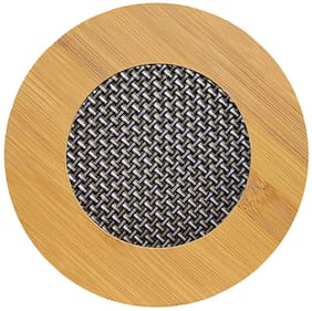 Utkarsh (Set Of 1) Round Shape Heating Insulation/Resistant Natural Bamboo Wooden Coaster Heat Table Ware Pad Placemat For Hot Coffee, Bowl & Tea Cup, Office, Home & Kitchen Dining Pan Pot Holder