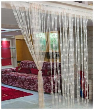 UTKARSH Polyester & Net Window Transparent Cream String Curtain ( Rod Pocket Closure , Printed )