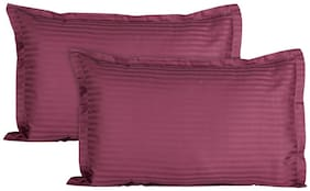 V Brown Solid Stripe Premium Satin Magenta Pillow Covers Standard Size 2 pcs set