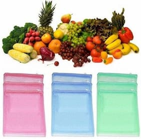 V D Sales , [ Pack Of 12 ] Multi-purpose Vegetables Fruits Mesh Fridge Storage Washable Zip Bags