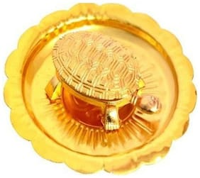 Gifts n Decor Gold Feng Sui/Vaastu/Fengshui Tortoise/Turtle with Plate