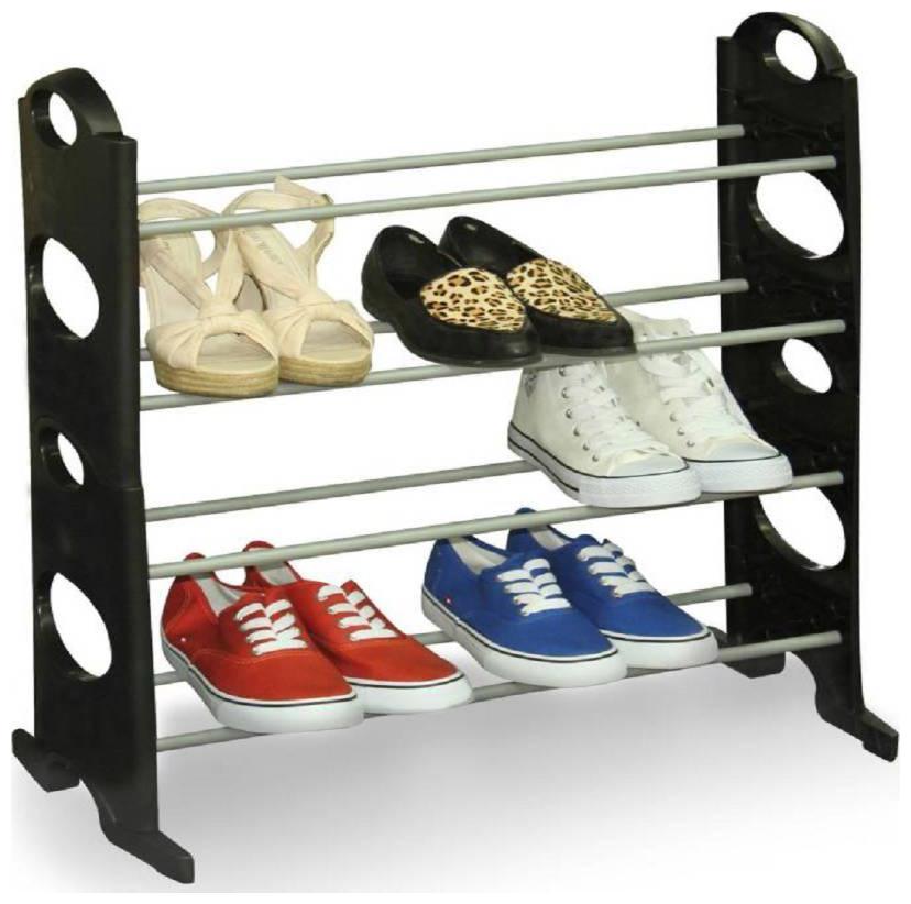 Vagmi Black Boss 12 Pairs Plastic Collapsible Shoe Stand   Black, 4 Shelves