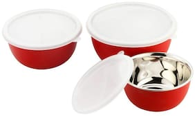 VAGMI Euro Stainless Steel Microwave Safe Serving/Food Storage Bowls with Lid(RED, PCK OF3)