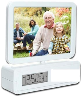 VAGMI Rotating Dual Photo Frame With Clock(Set of 2)