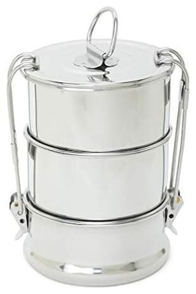 VAGMI 3 Container Stainless Steel Lunch Box Set of 1 ( Silver ,  650 ml )