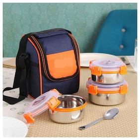 VAGMI Stainless steel container lunch box Multi 3 Containers Lunch box ( Set of 1 , 1250 ml )