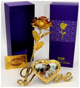 Valentines Gift 24K Gold Rose 25 Cm With Love Frame Stand And Velvet Gift Box