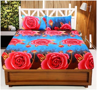 Valtellina Microfiber Floral Double Size Bedsheet 90 TC ( 1 Bedsheet With 2 Pillow Covers , Multi )