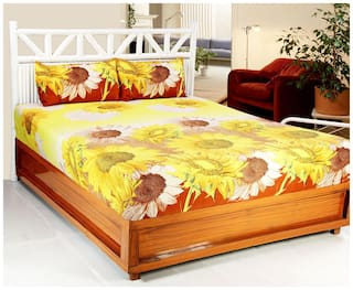 Valtellina Microfiber Floral Double Size Bedsheet 104 TC ( 1 Bedsheet With 2 Pillow Covers , Multi )