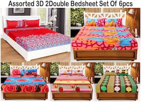 Valtellina Microfiber Abstract Double Size Bedsheet 120 TC ( 2 Bedsheet With 4 Pillow Covers , Assorted )