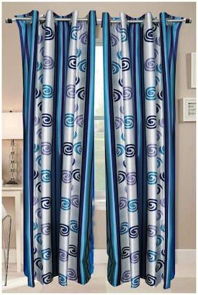 Valtellina beautiful designer cream & sky color Door curtain (9 ft)
