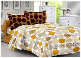 Valtellina Brown & Polka Design 100% Cotton Double Bedsheet with 2 CONTRAST Pillow Cover-Best TC-175DVA-019