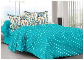 Valtellina Cotton Abstract Double Size Bedsheet 104 TC ( 1 Bedsheet With 2 Pillow Covers , Blue )