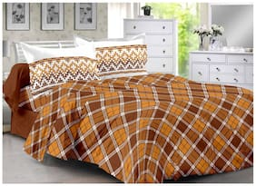 Valtellina Cotton Checkered Double Size Bedsheet 104 TC ( 1 Bedsheet With 2 Pillow Covers , Brown )