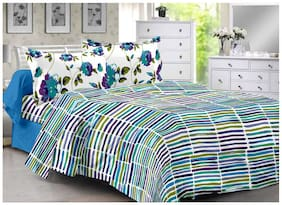 Valtellina Cotton Striped Double Size Bedsheet 104 TC ( 1 Bedsheet With 2 Pillow Covers , Blue )