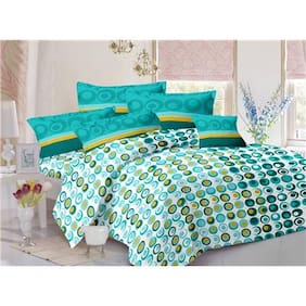 Valtellina Cotton Abstract Double Size Bedsheet 104 TC ( 1 Bedsheet With 2 Pillow Covers , Multi )
