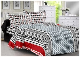 Valtellina Cotton Abstract Double Size Bedsheet 104 TC ( 1 Bedsheet With 2 Pillow Covers , Grey )