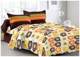 Valtellina Cotton Abstract Double Size Bedsheet 104 TC ( 1 Bedsheet With 2 Pillow Covers , White )