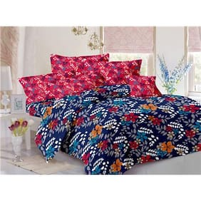 Valtellina Cotton Floral Double Size Bedsheet 104 TC ( 1 Bedsheet With 2 Pillow Covers , Blue )