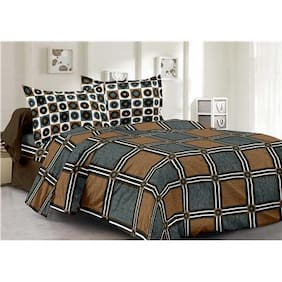 Valtellina Cotton Checkered Double Size Bedsheet 104 TC ( 1 Bedsheet With 2 Pillow Covers , Grey )